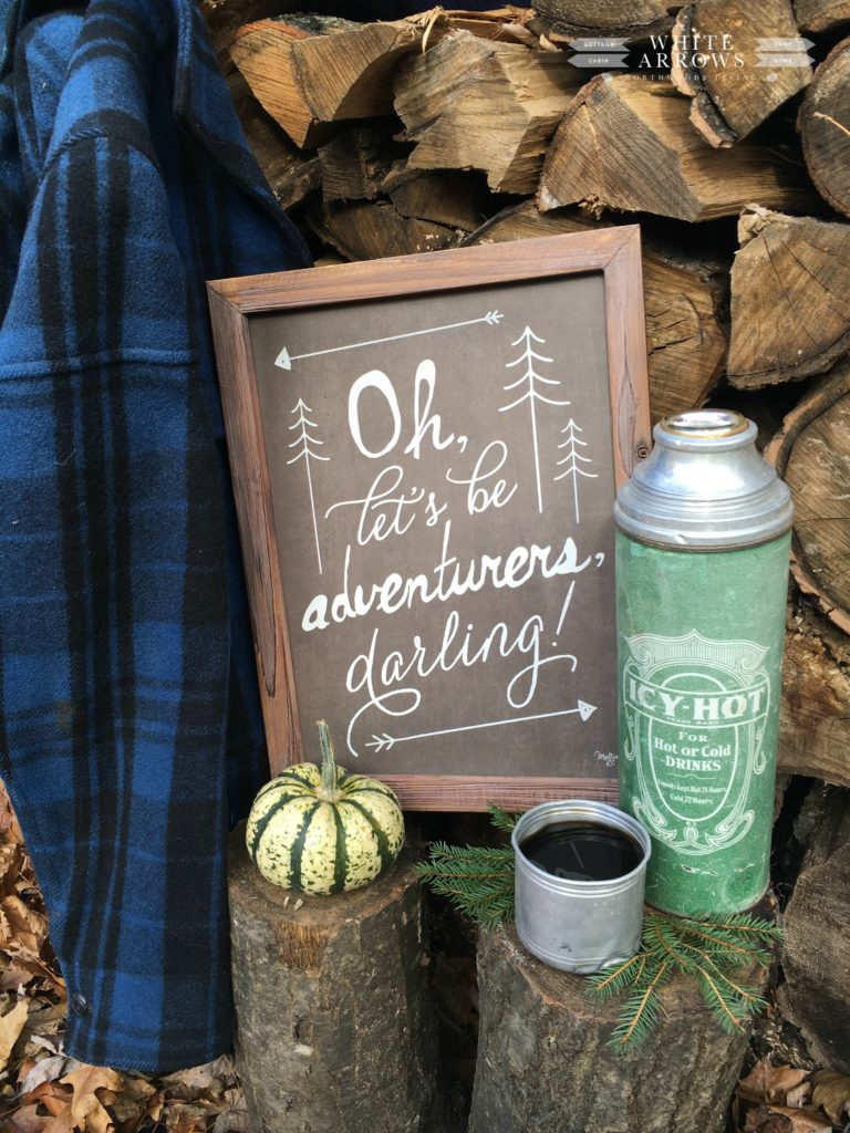 Autumn, Fall Checklist, Thermos, Wood Pile, Vintage Camp Style, Log Cabin