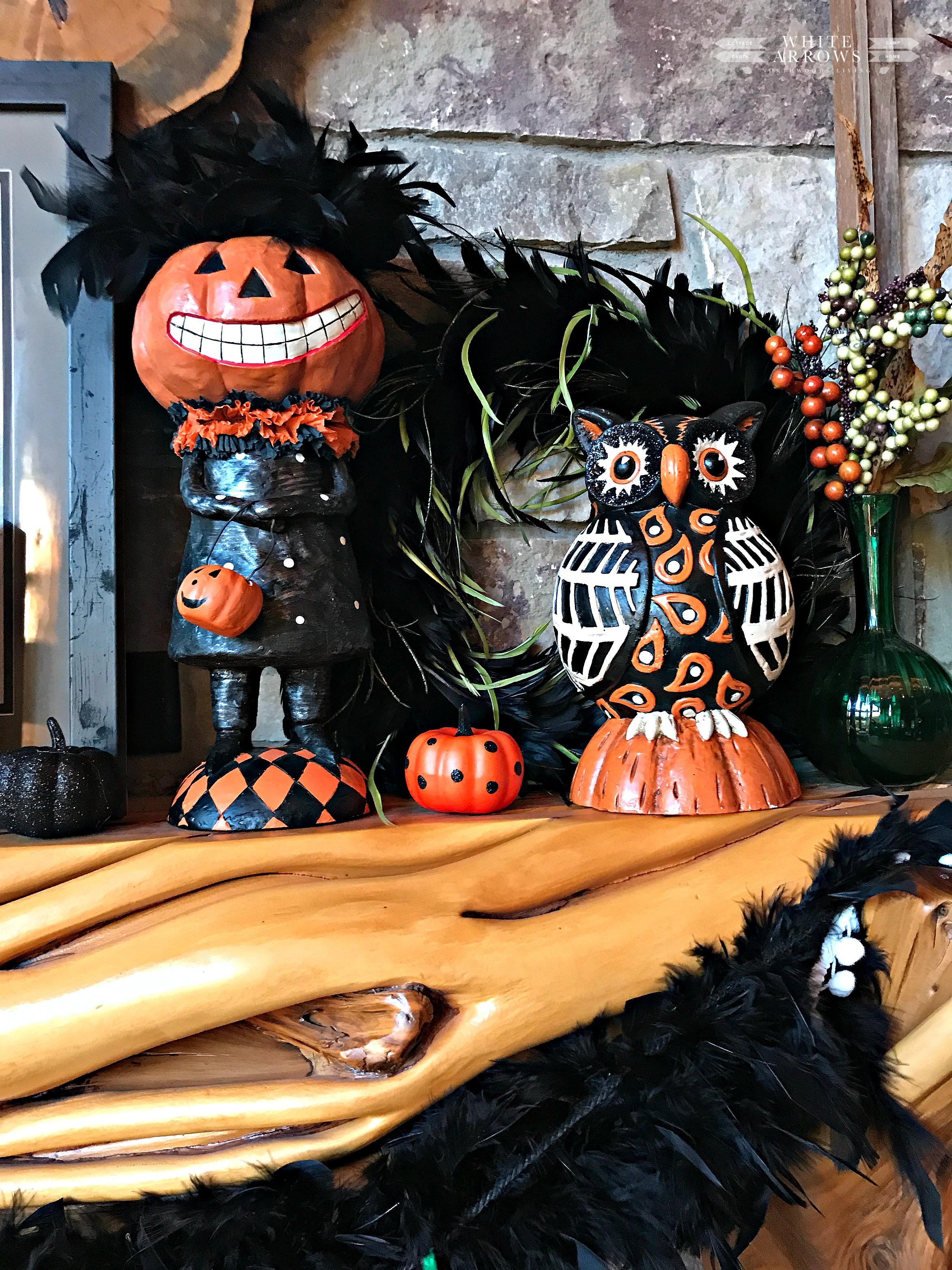 Halloween Mantle Decor, halloween decor, log cabin, cabin