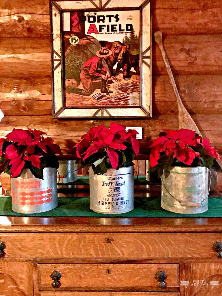 lake house, Christmas Decor, Minnow bucket, Poinsettia, Rustic Decor, Log Cabin, Cabin, Cabin Style, Cabin Decor