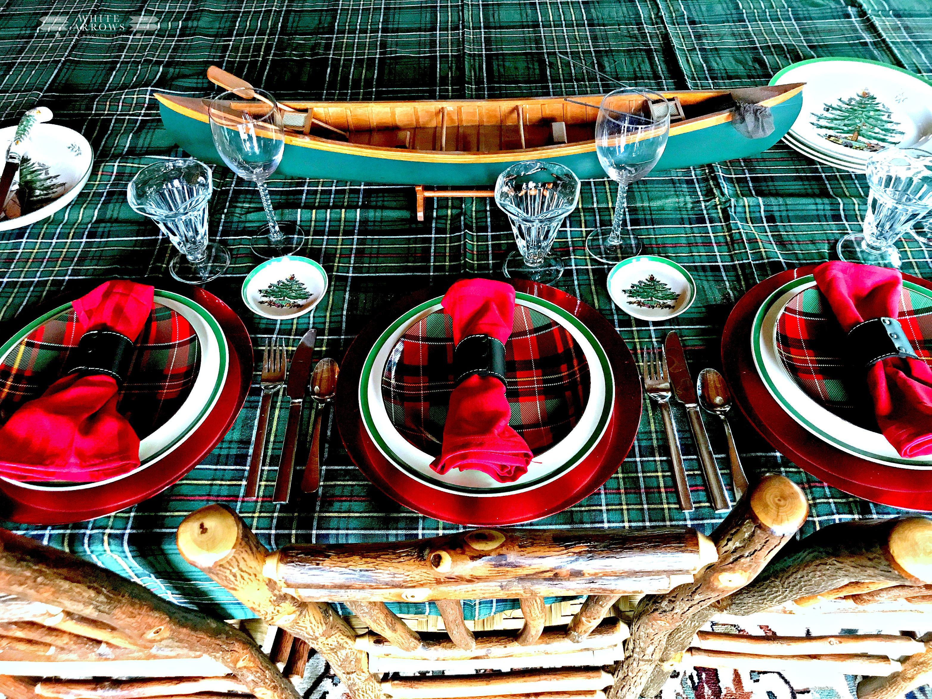 Christmas table, Lake House, Cabin Dining Room, Christmas Tablescape, Lake House, Holiday Decor, Christmas Decor, Tartan, Plaid, Spode,