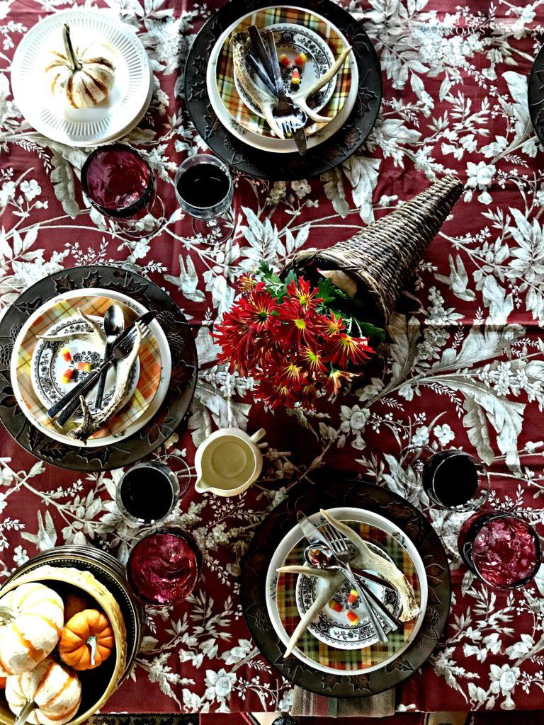 Rustic Decor, Antique, Pier One Fox, Fall Decor, Autumn Decor, Thanksgiving Decor, Thanksgiving Table, Thanksgiving Tablescape, Pacesetting, Antler Decor, Plaid Dishes