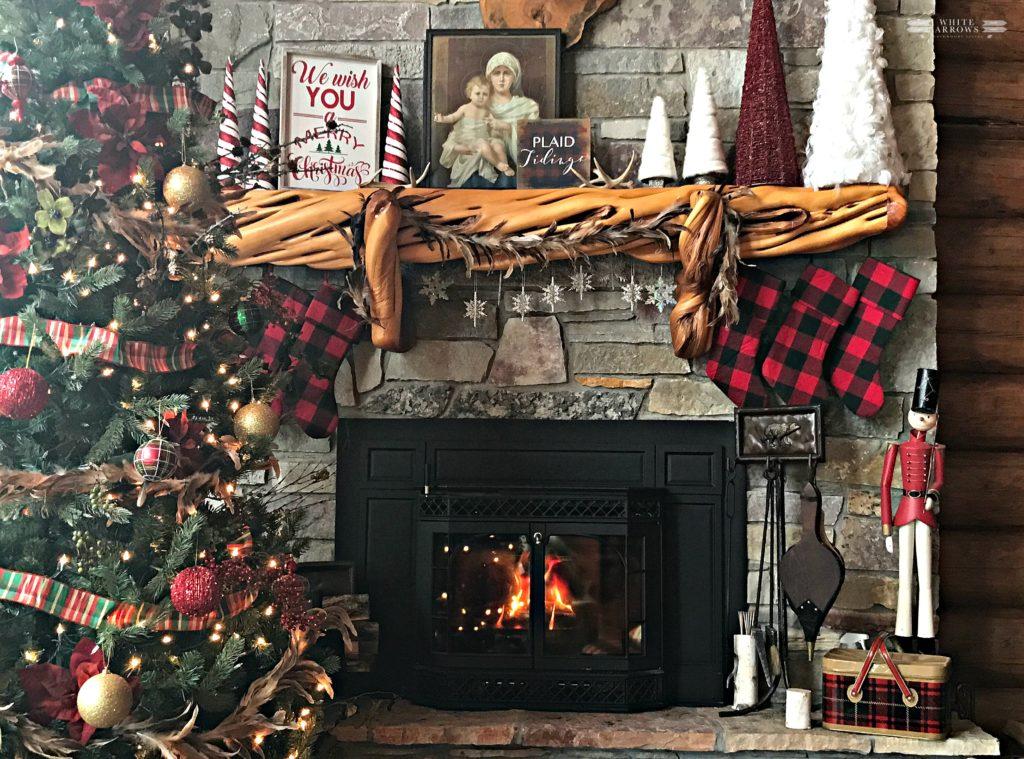 Christmas Mantle, Buffalo Plaid, Log Cabin, Cabin Decor, Rustic Decor, Stone Fireplace