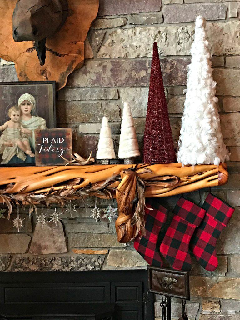 Christmas Mantle Decor, Trees, Log Cabin, Buffalo Plaid, Buffalo Plaid Stockings, Rustic Decor