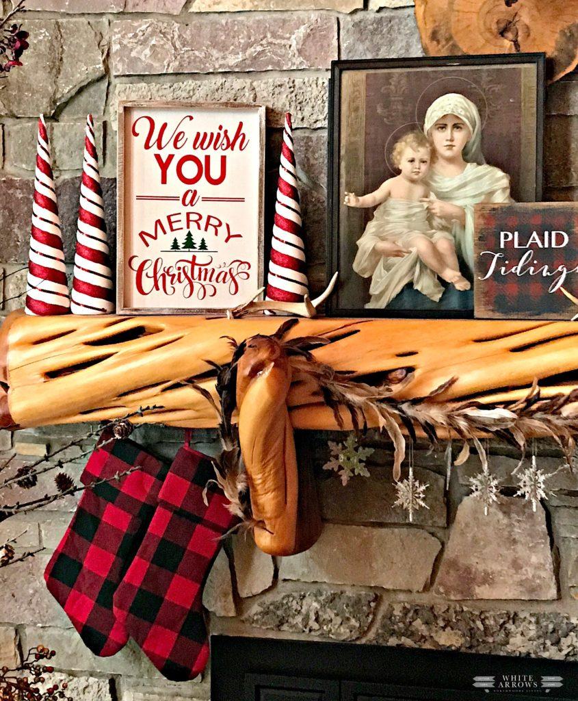 Christmas Mantle, We Wish You a Merry Christmas, Buffalo Plaid, Buffalo Plaid Stockings, Mary and Child