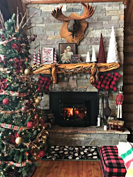 Christmas Mantle, Mantle, Stone Fireplace, Log Cabin, Cabin Christmas, Buffalo Plaid, Stockings