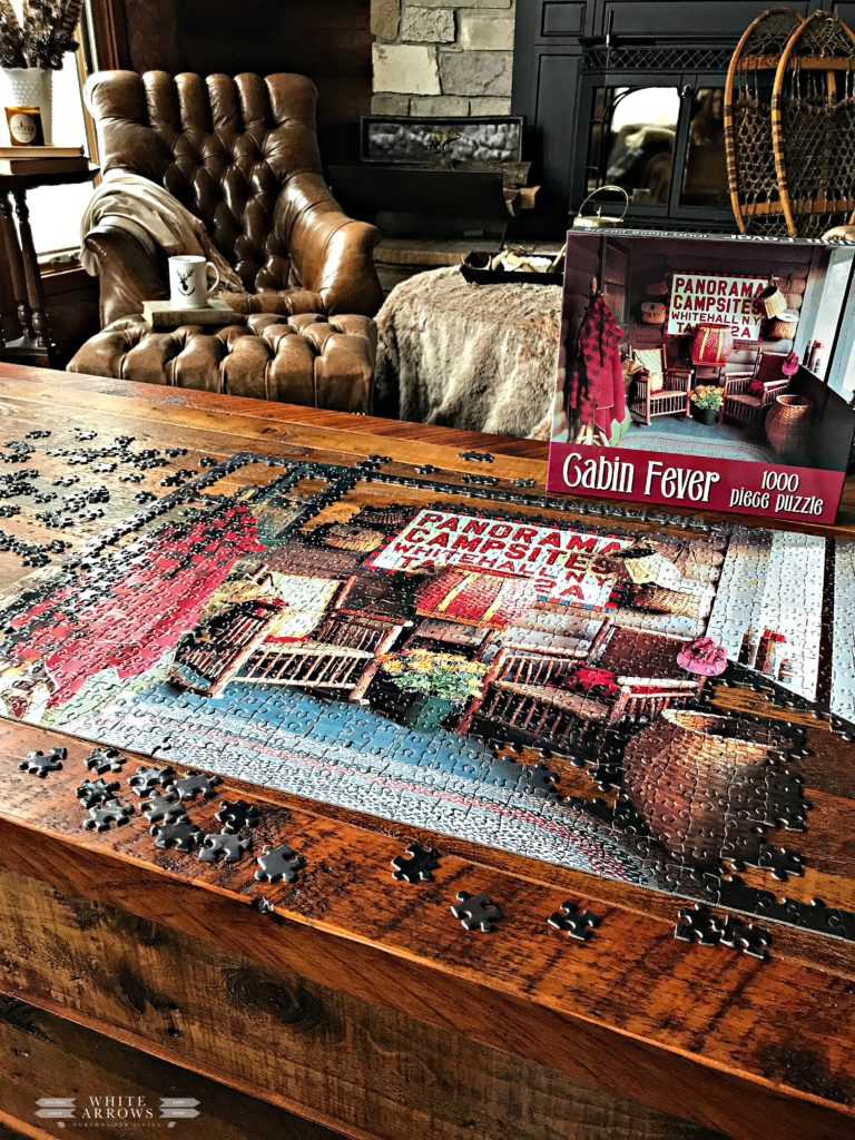 puzzle, cabin fever, log cabin, hygee, cabin, cottage, lake house