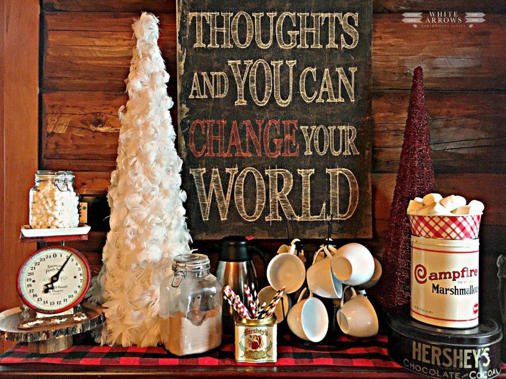 buffalo plaid, hot chocolate, hot chocolate bar, buffalo plaid, marshmallows. mug rack, Hobby Lobby, positive quote, mug rack, paper straws, vintage, campfire marshmallow, vintage scale