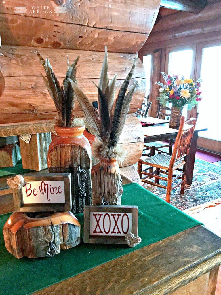 Valentine Decor, Rustic, Log Cabin, Cabin Decor