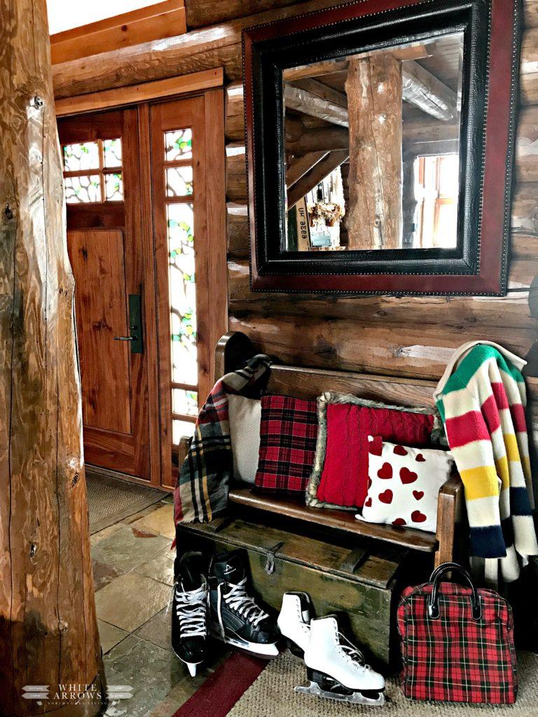 Valentine's Decor, Valentine's, Entryway, Log Cabin, Front Door, Entry Bench, Throw Pillows, Cabin Decor