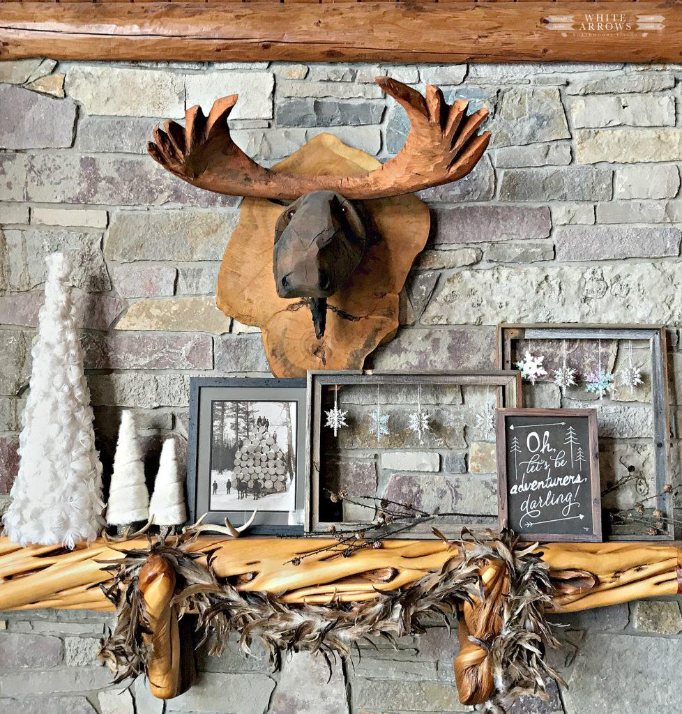 Winter Neutral Decor, Mantel, Carved Moose, moose head, log cabin, cabin decor, rustic decor, winter decor