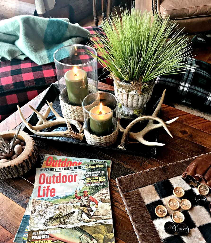 Northern Lights Candles, White Arrows Home, Coffee Table Tray, Log Cabin, Cabin, Outdoor Life, Antler Decor