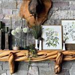 Spring Decor, Botanicals, Green Decor, Milk Glass, Candles on Mantle, Wood Mantel, Stone Fireplace, Cabin, Rustic Decor, Log Cabin