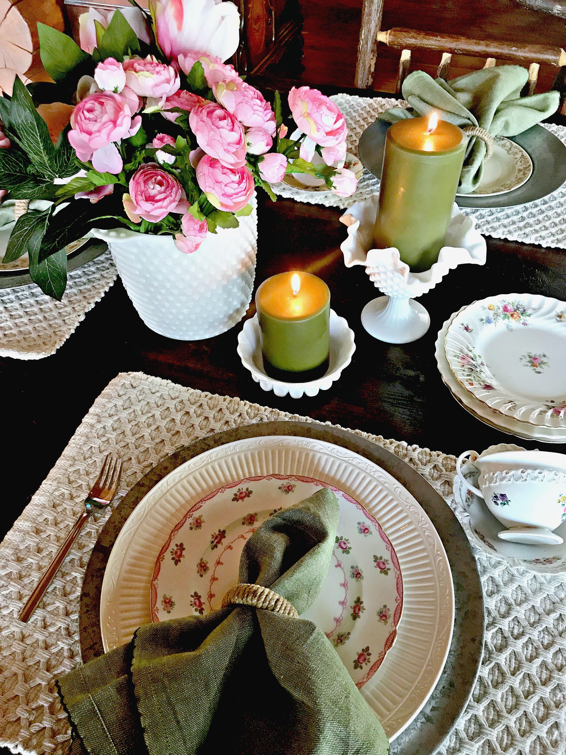 Spring Decor, Table Setting, Tea Cups, Vintage, Milk Class, Tea Cups, Candles