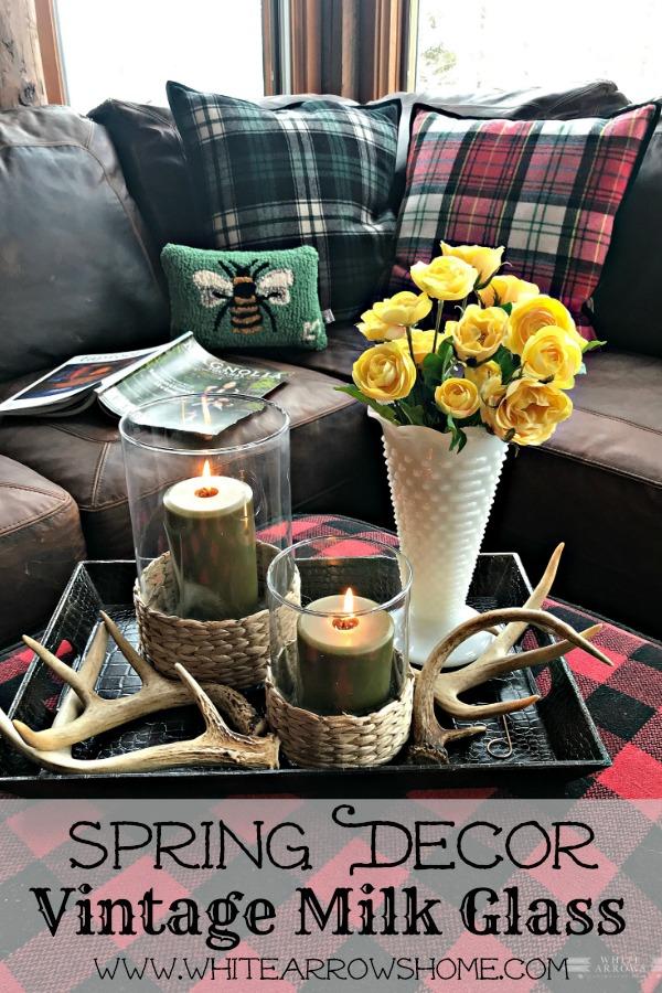 Spring Decor, Vintage Milk Glass, Easter Decor, Vintage Decor, Cabin Decor, Cabin Style
