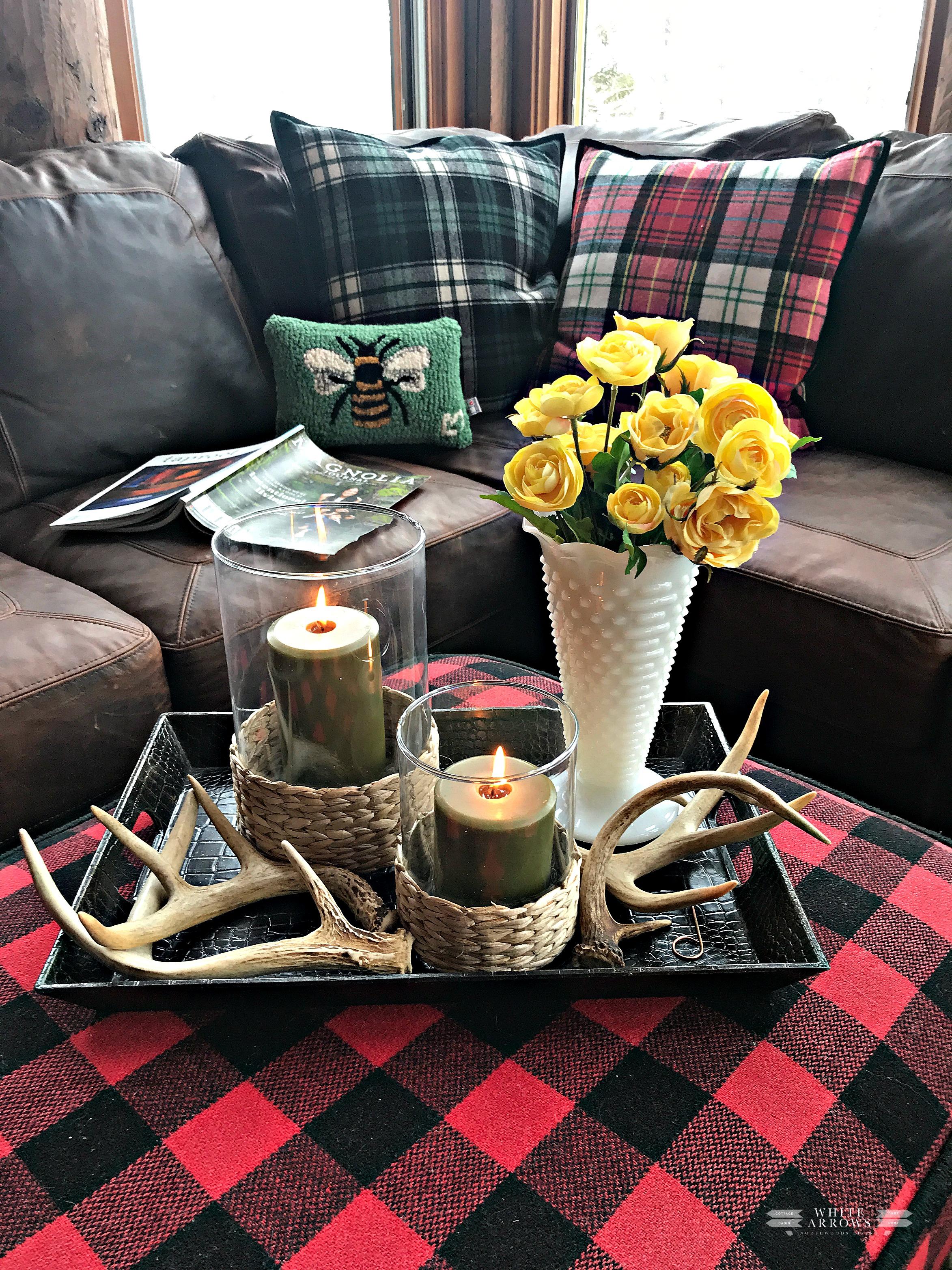 Spring, Milk Glass Vase, Buffalo Plaid, Antlers, Vintage
