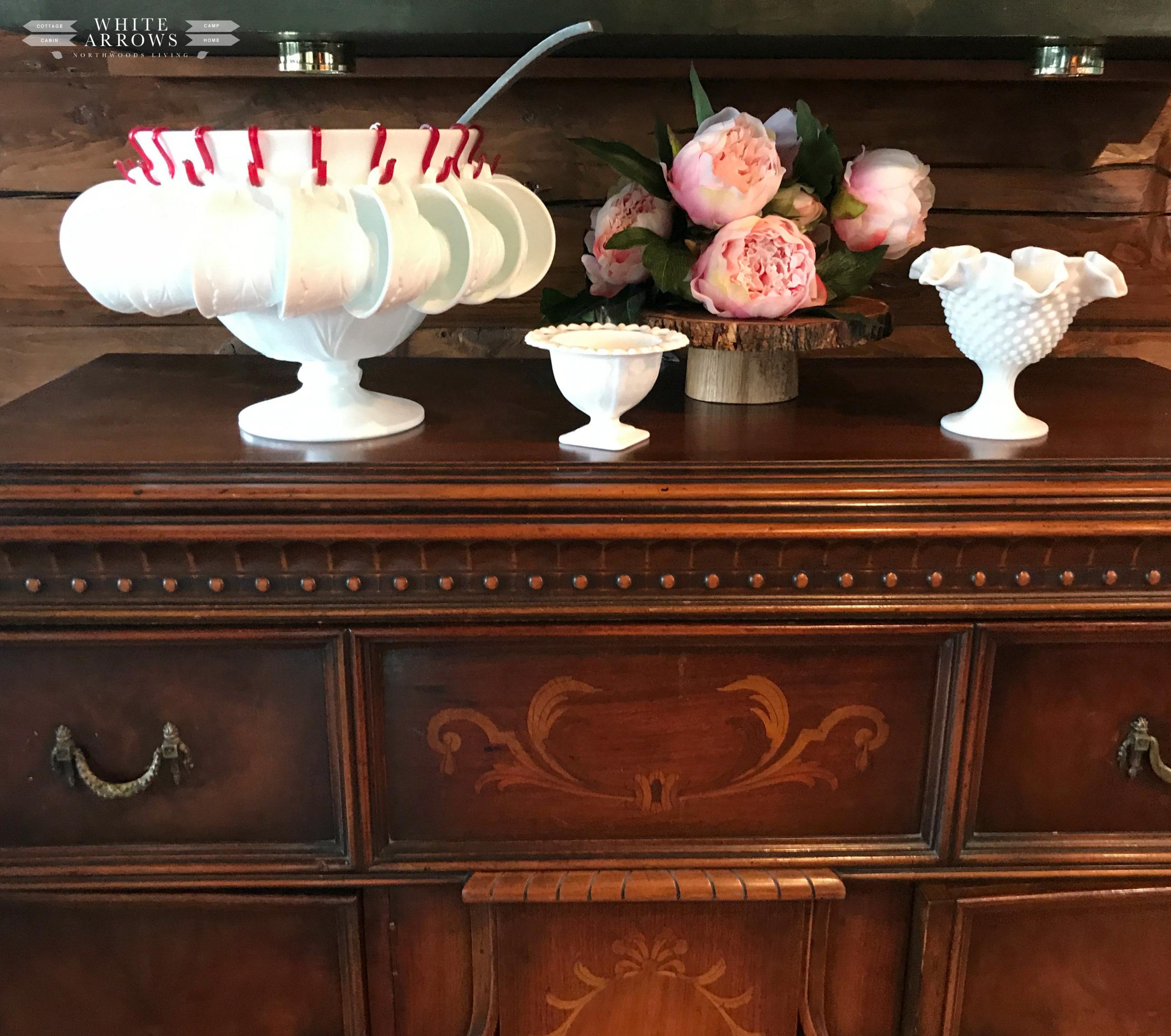 Spring Decor, Entertaining, Punch Bowl, Vintage Milk Glass