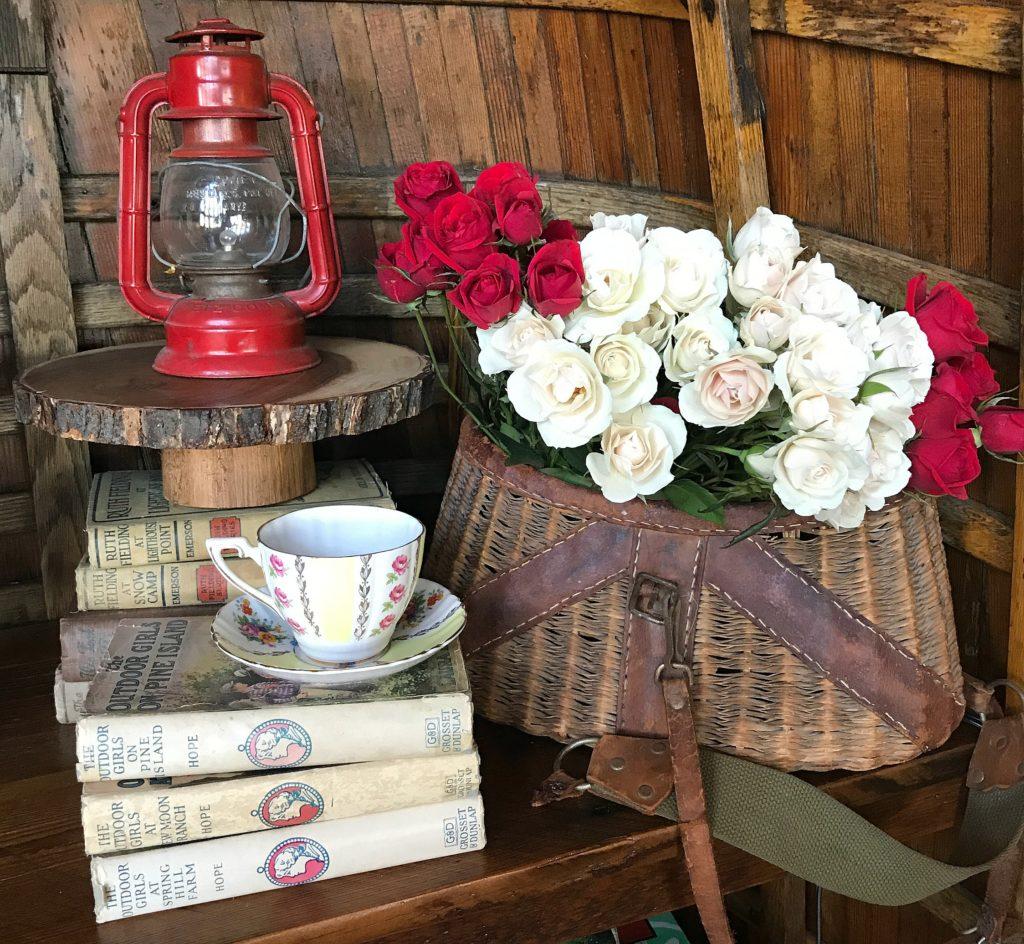 Cabin, Rustic Decor, Cabin Style, Cottage, Teacup, Creel, Vintage Books