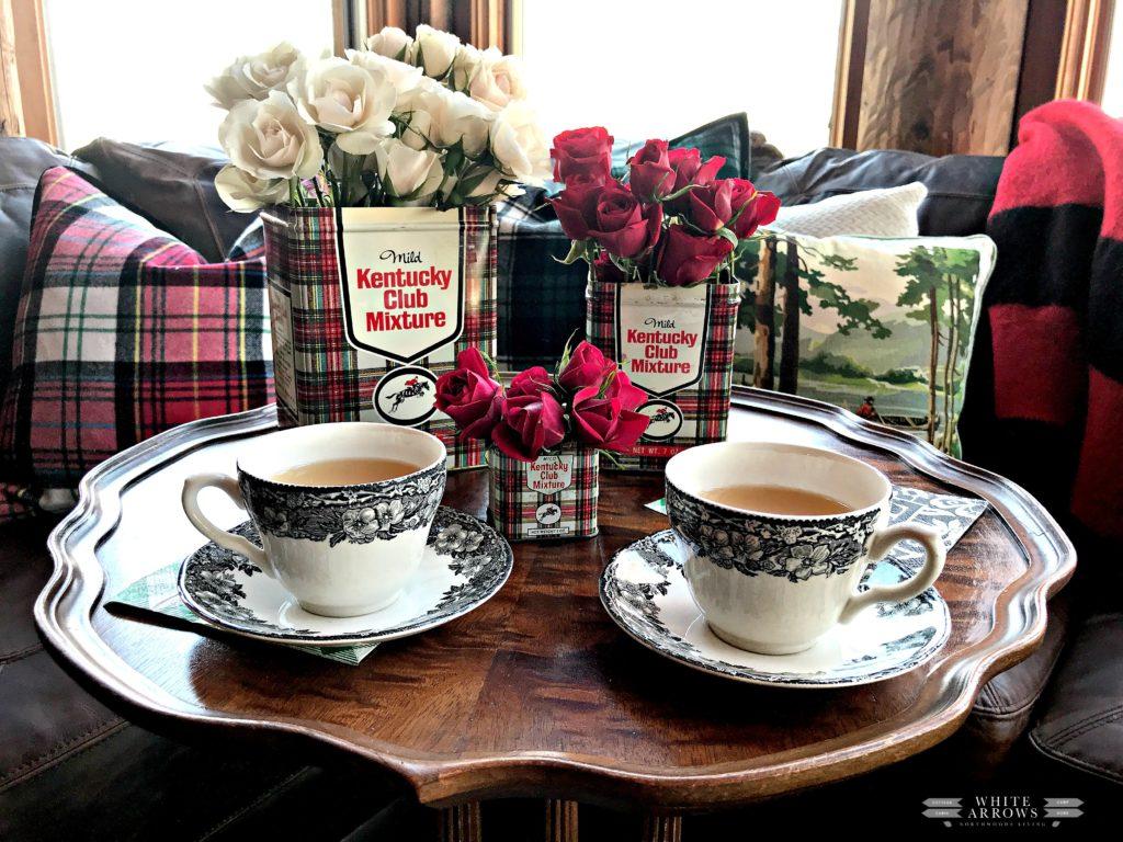 Cabin Decor, Plaid Decor, Vintage, Kentucky Club Tin