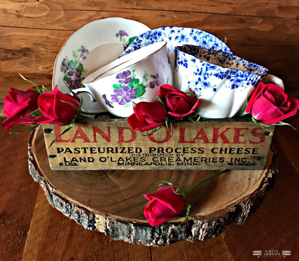 Cabin Decor, Lake House Decor, Tea Cups, Rustic Decor, Land O' Lakes, Vintage Cheese Box