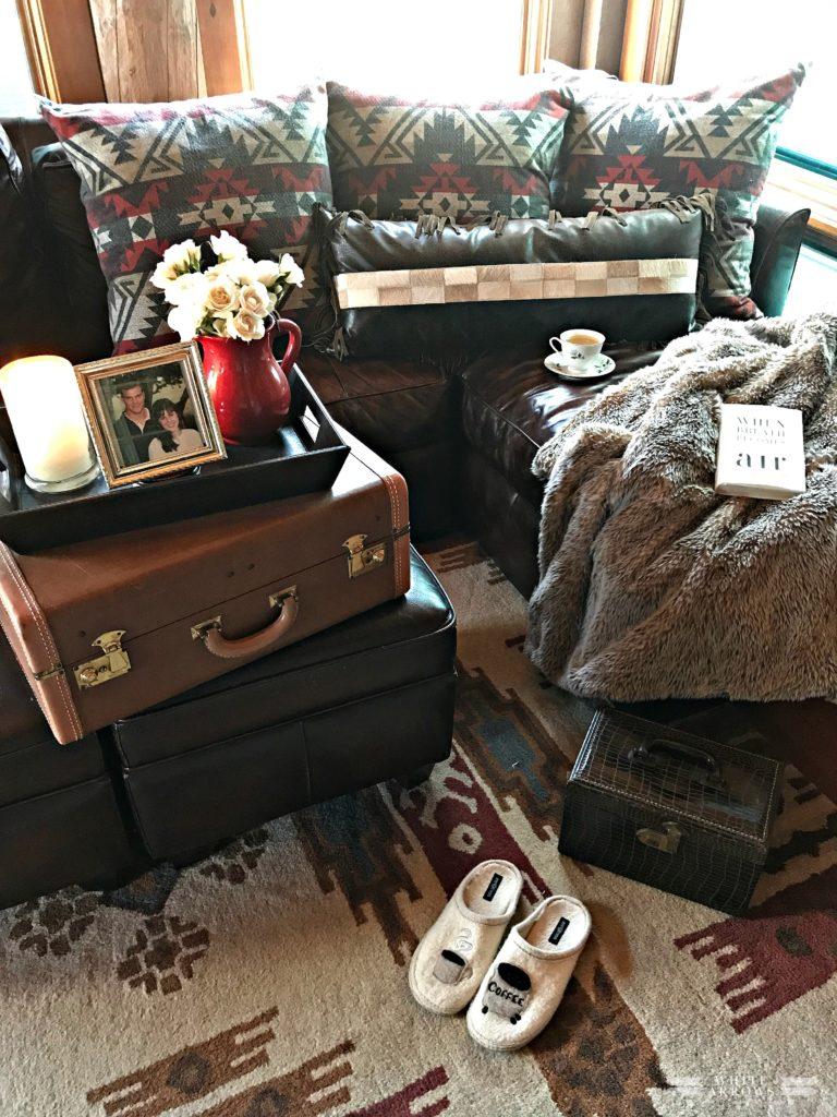 Cabin, Leather Sofa, Rustic Decor