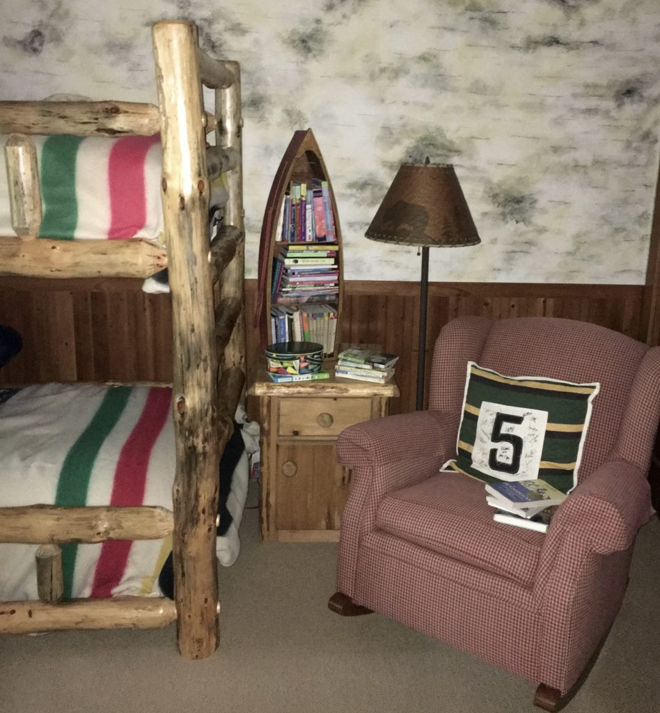 bunk room, Pendleton, birch walls, cabin decor, log cabin, cabin