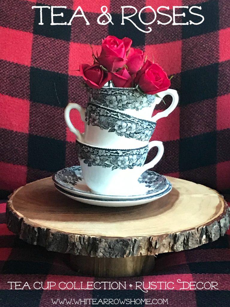 Tea & Roses, Tea Cups, Rustic Decor, Buffalo Plaid