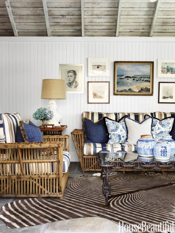 Nautical Decor, Blue and White Decor, Lake House Decor, Coastal Decor, Cane Furniture