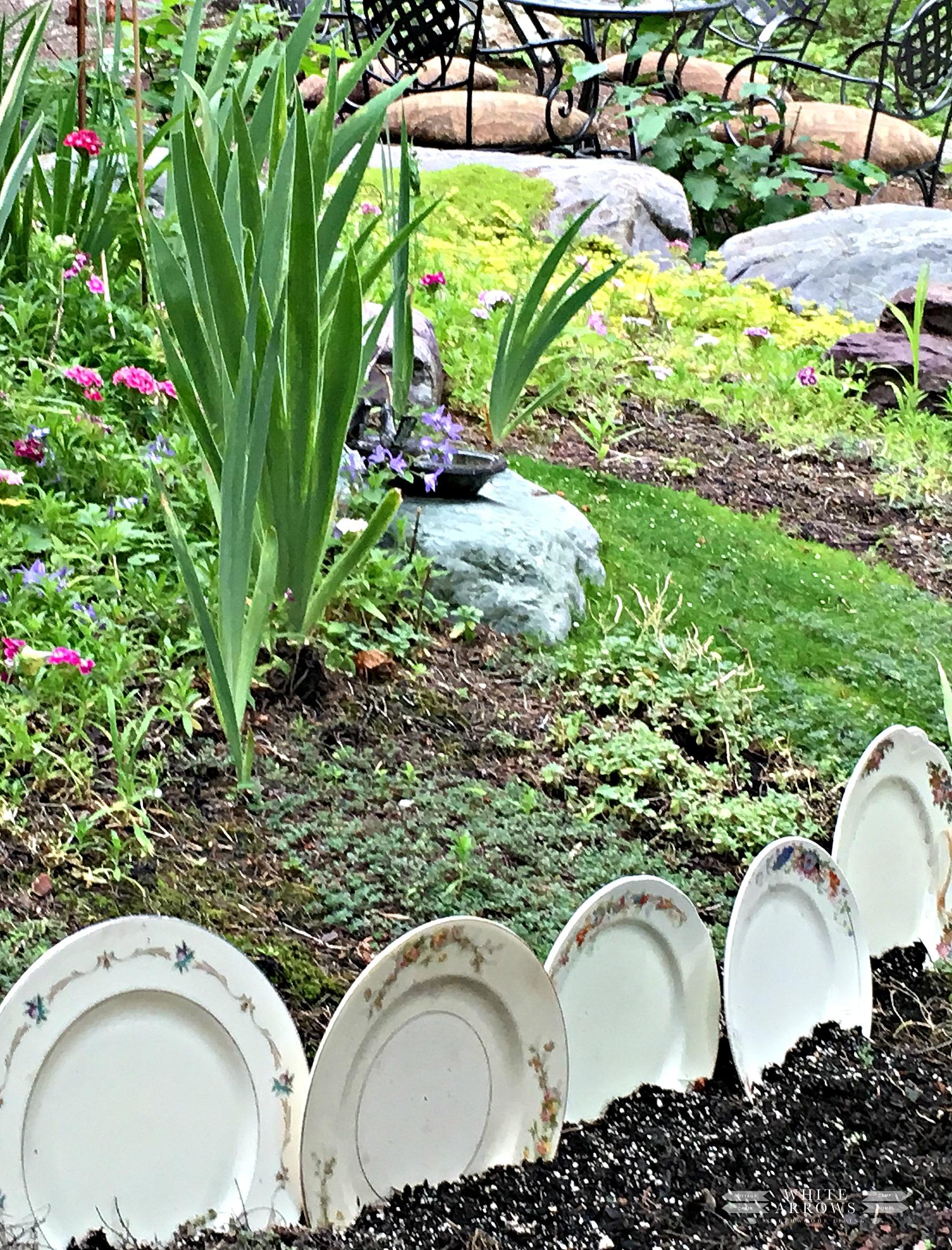 vintage, vintage dishes, vintage garden, garden art, garden decor