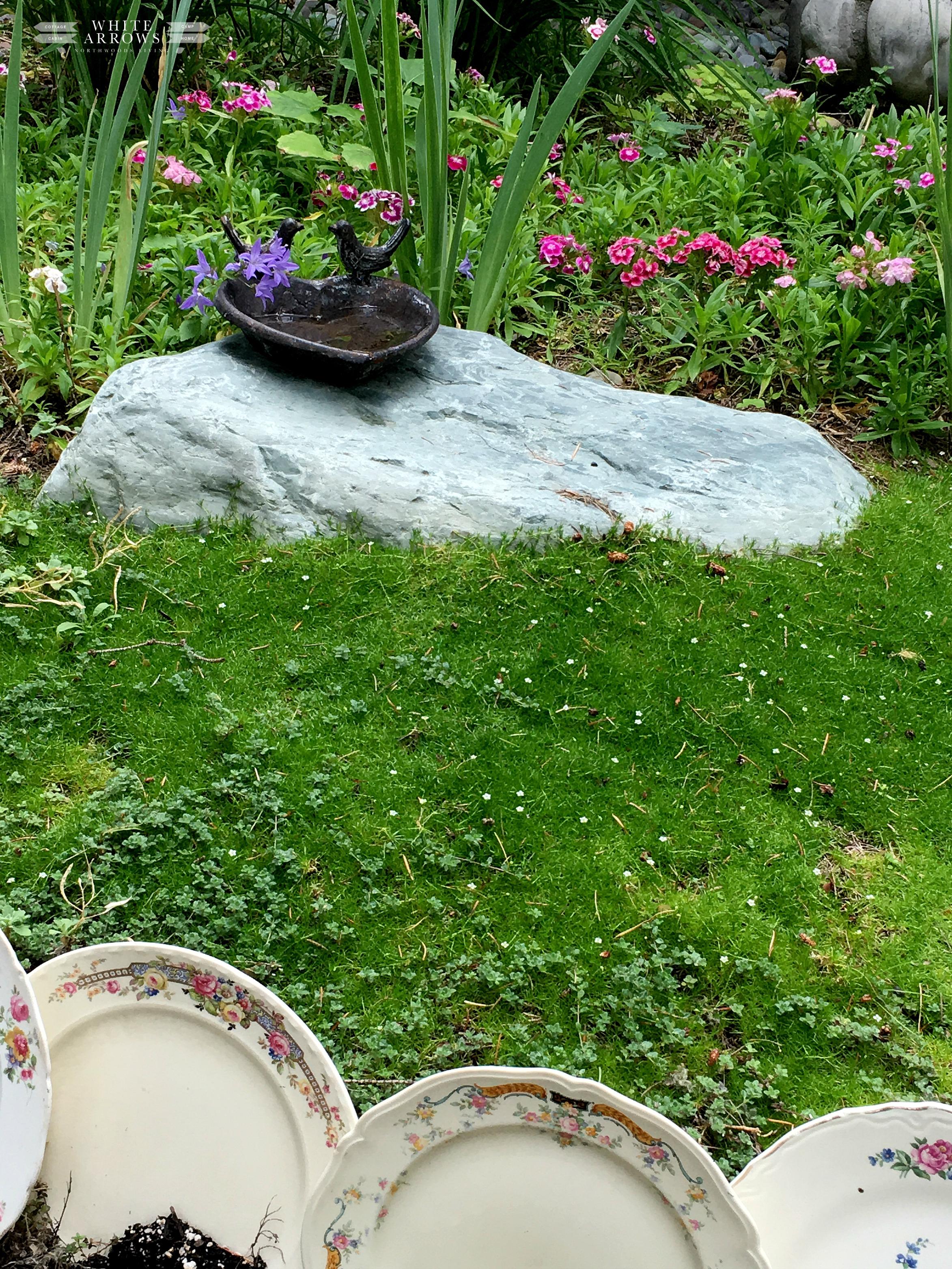 Vintage Garden Tour, Moss, Garden Art, Bird Bath