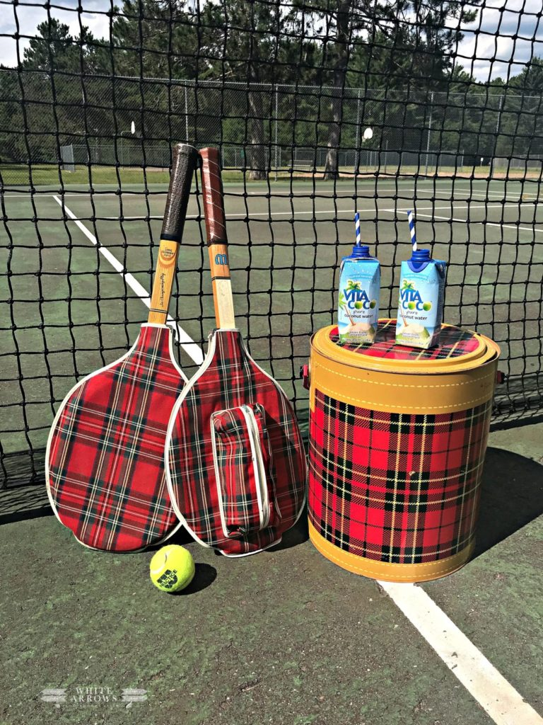 plaid tennis racquet covers and scotch cooler