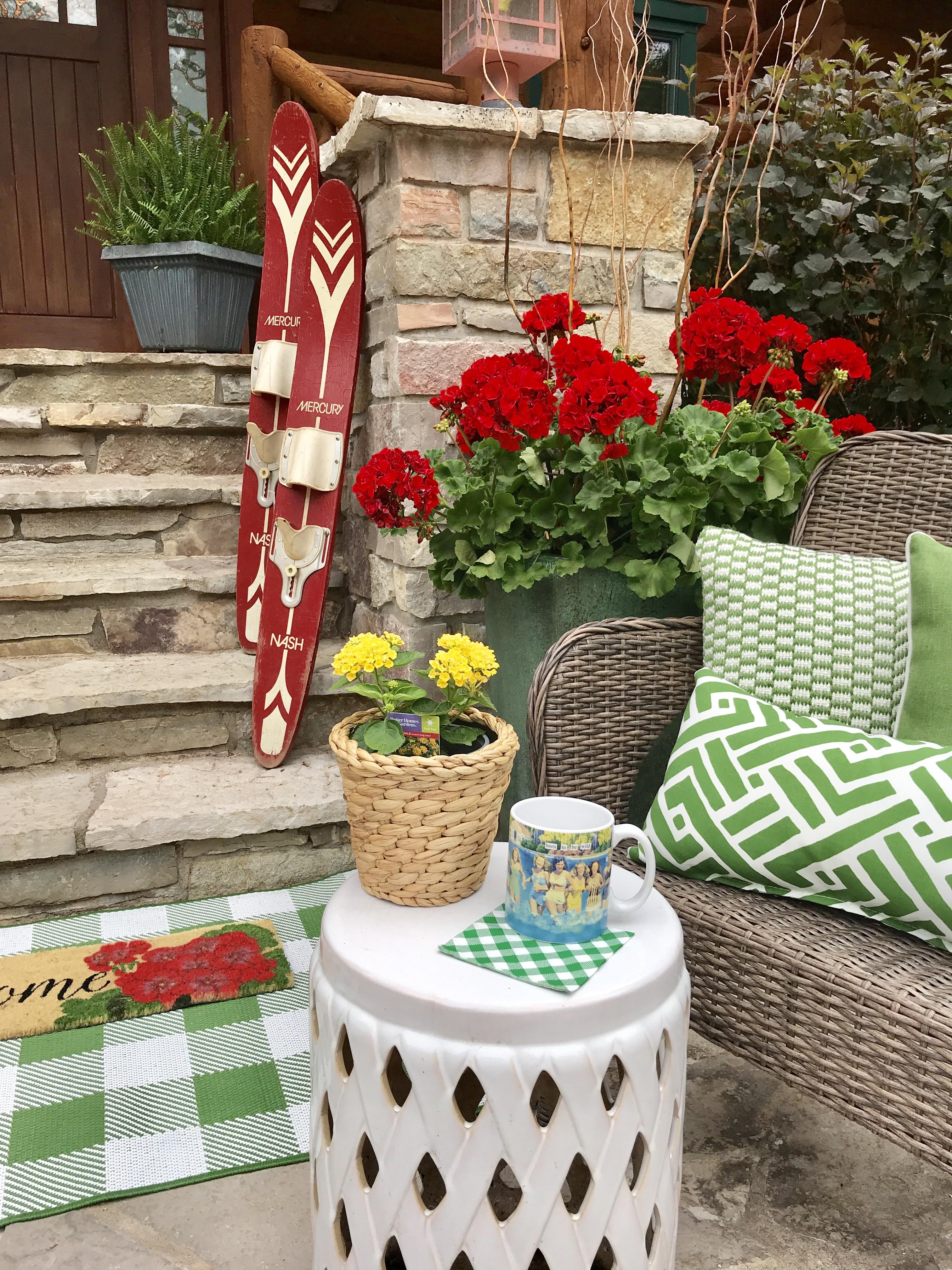 vintage skis, lake house, cabin decor, summer decor, porch decor, patio decor, geraniums