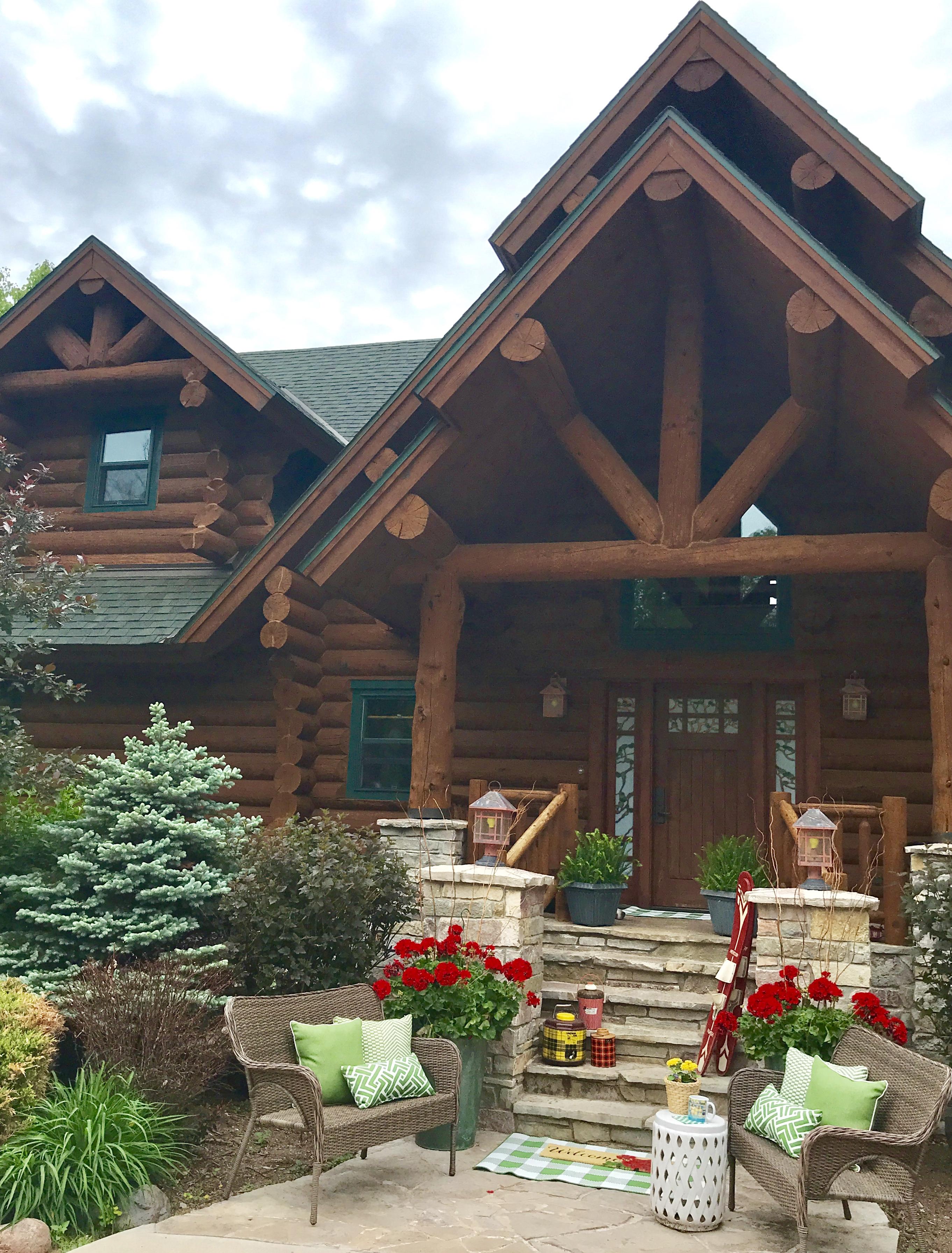summer decor, cabin decor, geraniums, minocqua, log cabin, cottage, lake house