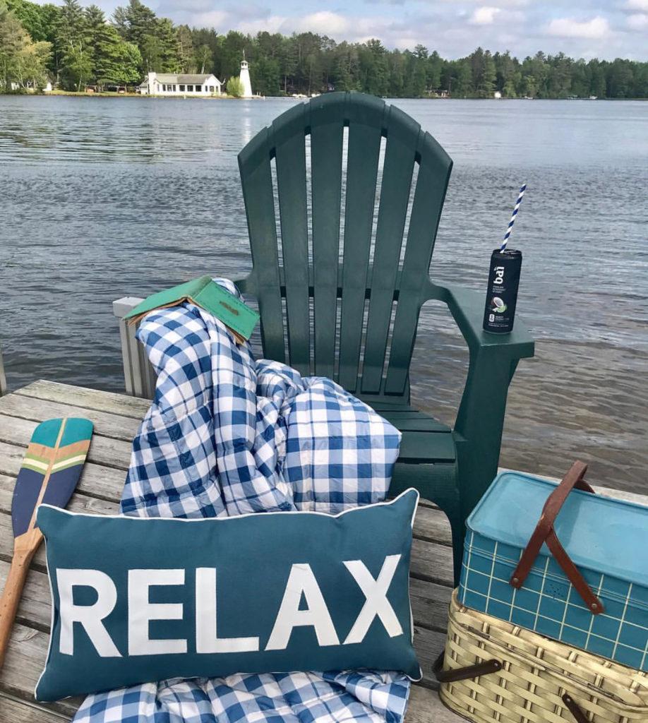 Summer decor, buffalo plaid, adirondack chair, vintage picnic basket, paddle