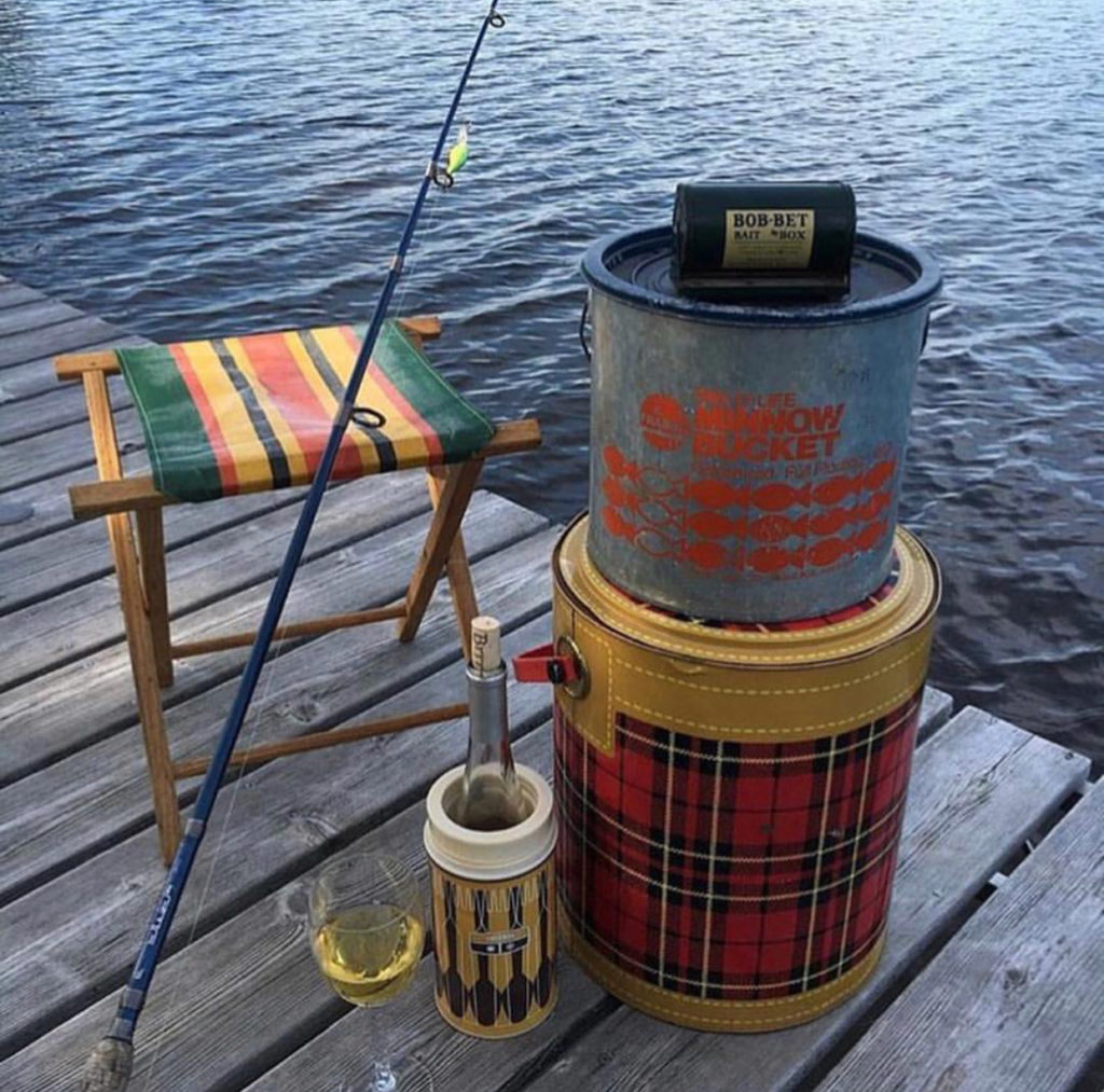 Summer, Fishing, Thermos, Camp stool, minnow bucket, Scotch Cooler