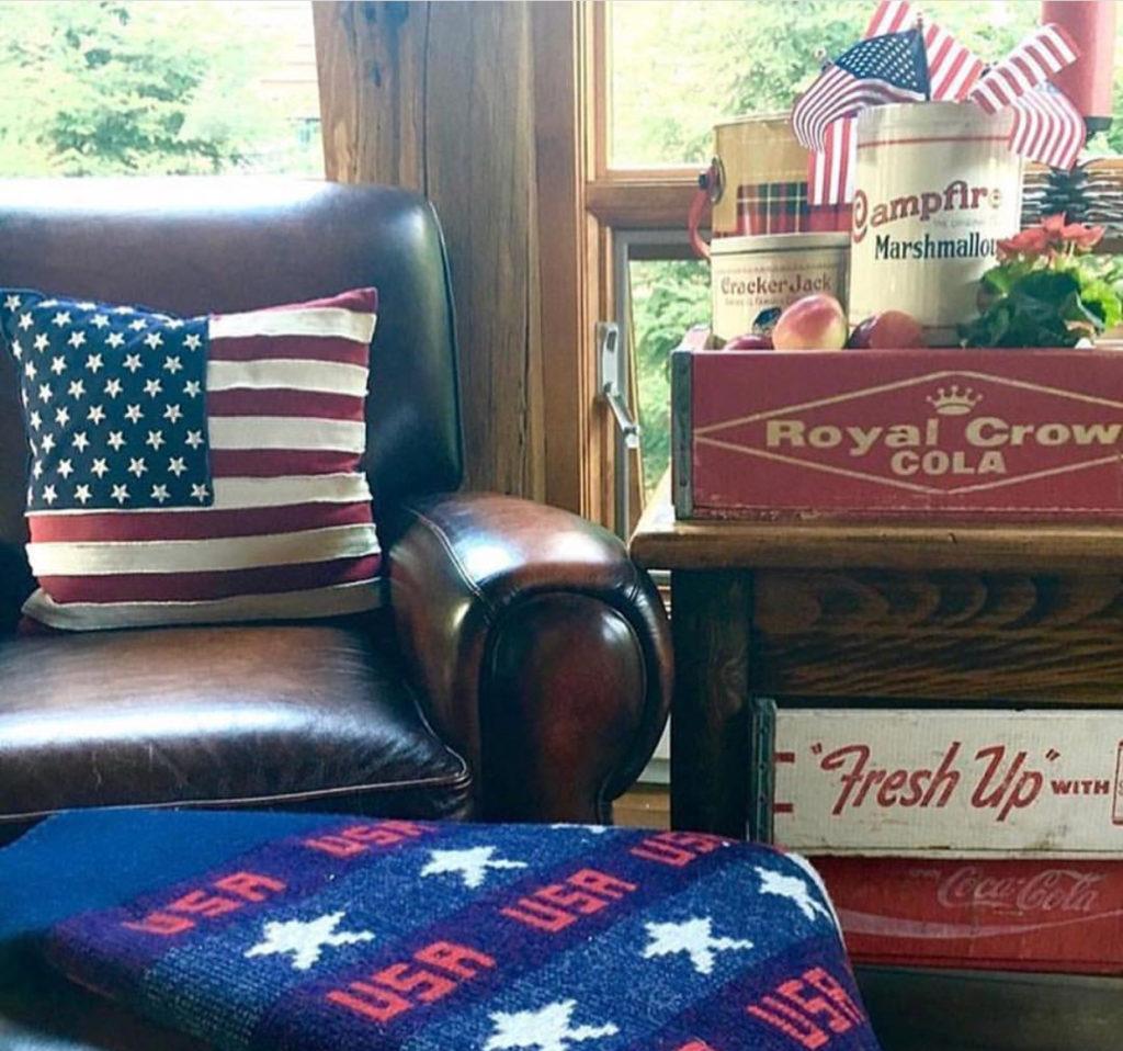 Summer decor, Americana, vintage soda crates, Pendelton