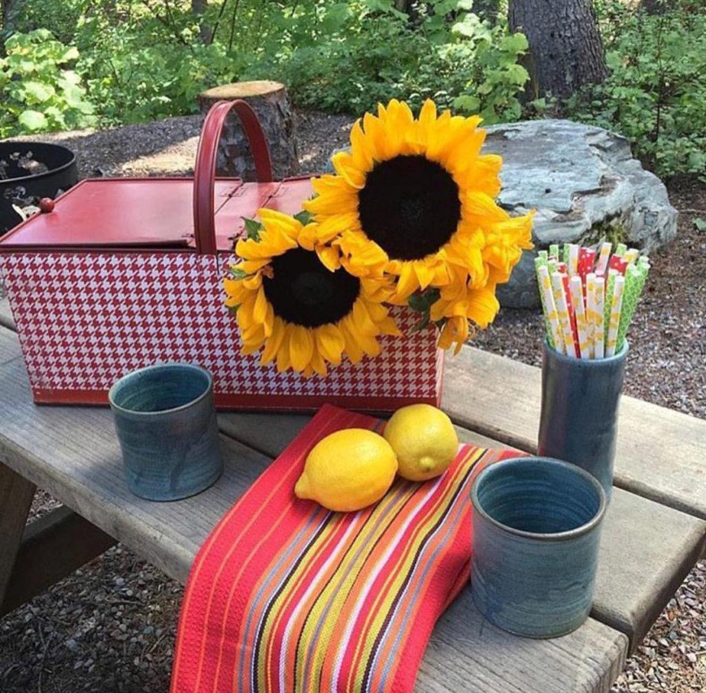 summer decor, sunflowers, lemons, vintage picnic basket