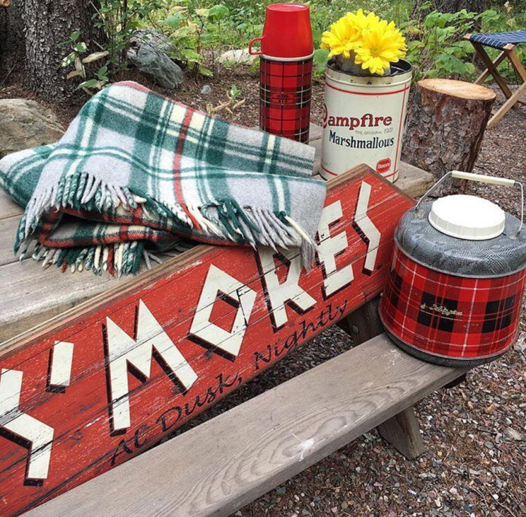 s'mores, cabin, camp fire, thermos, plaid