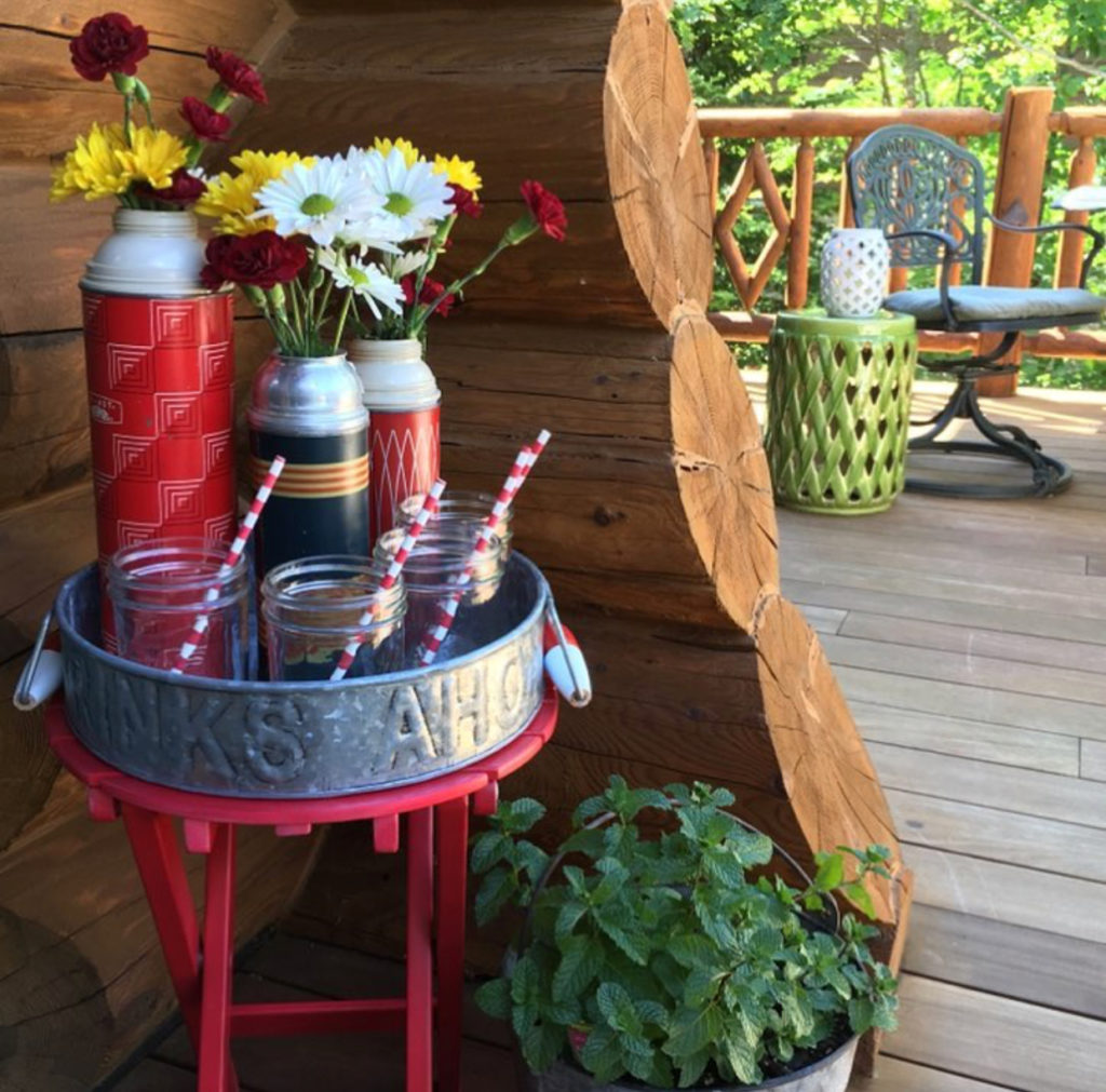 thermos, beverage cart, cabin, cottage