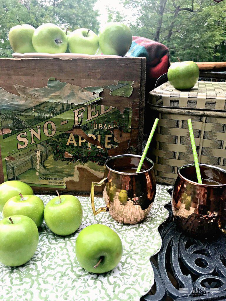 fall decor, autumn decor, apple decor, vintage decor, picnic basket, copper mugs