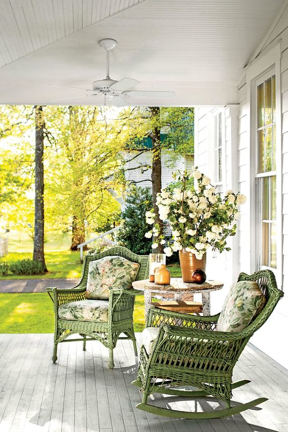cottage porch, wicker chairs, front porch, porch decor