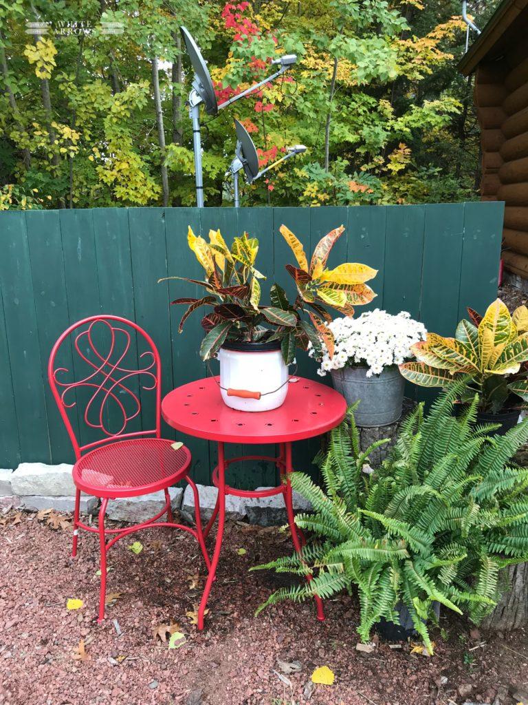 Fall porch, fall outdoor decor, fall garden, bistro table