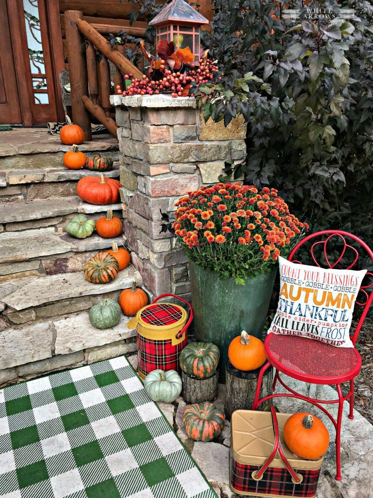 Autumn Decor, Fall Porch, Fall Decor, Fall Front Porch, mums and pumpkins, gingham