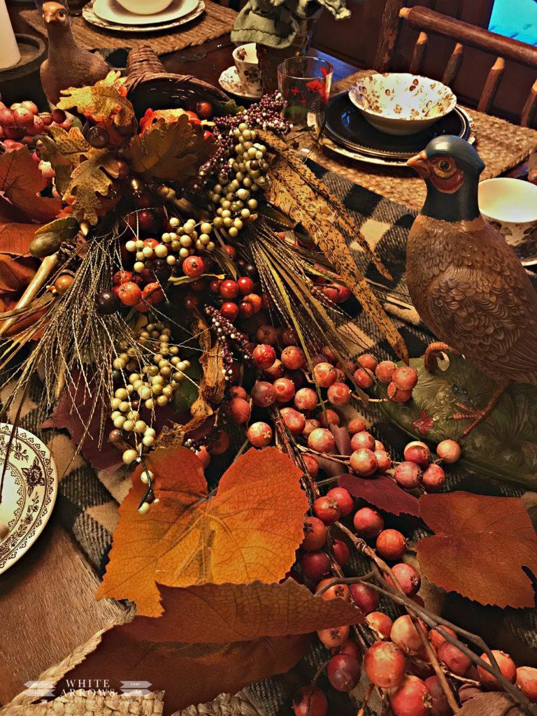 Thanksgiving table, plaid table, pheasants, transferware
