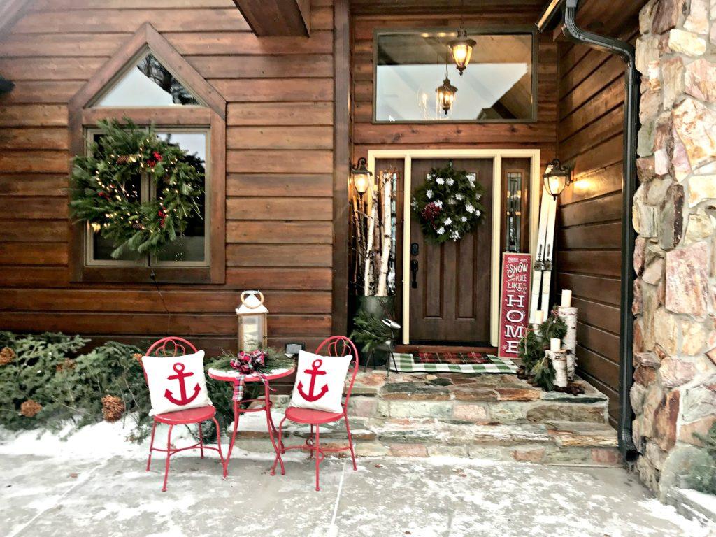 Christmas decor, Holiday decor, Christmas Porch, Front Porch Decor, Lake House, Cabin, Cottage