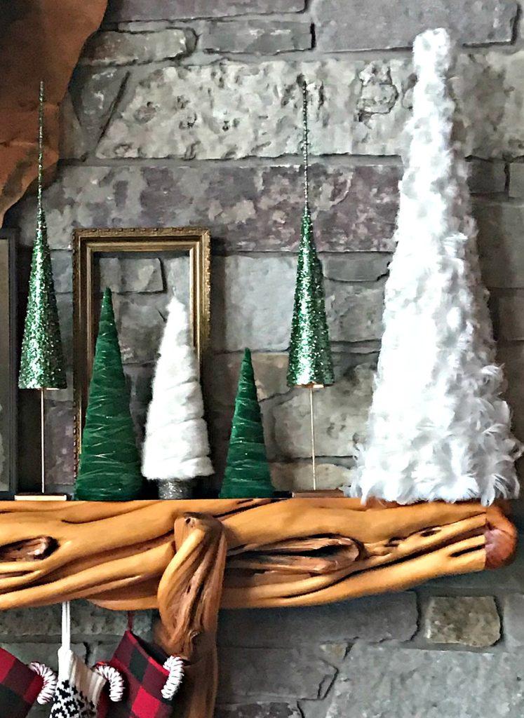 christmas-mantel-buffalo-plaid-trees