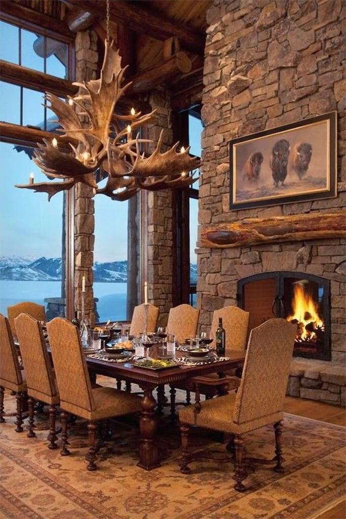 lodge-style-dining-room-moose-chandelier
