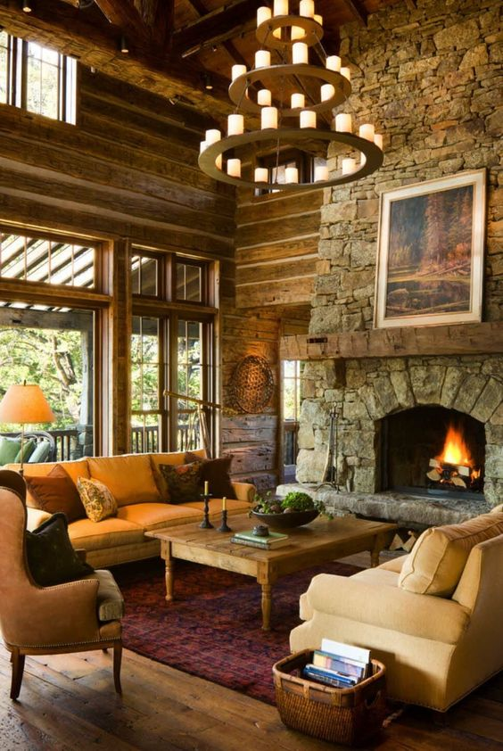 lodge-style-chandelier-stone-fireplace