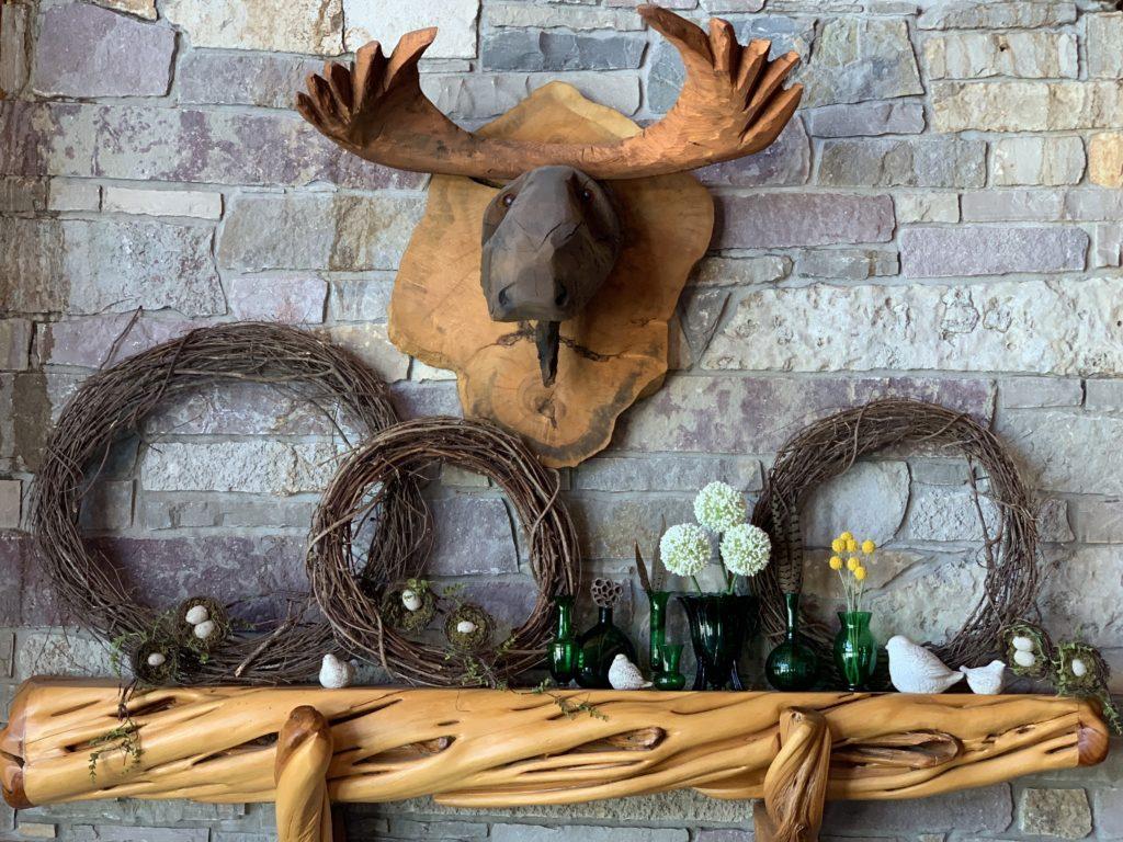 vintage-decor-grapevine-wreath-mantel-spring-cabin-rustic