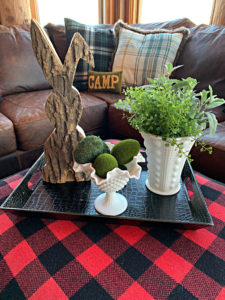 easter-vignette-decorated-tray-wooden-bunny-milk-glass-buffalo-plaid-moss