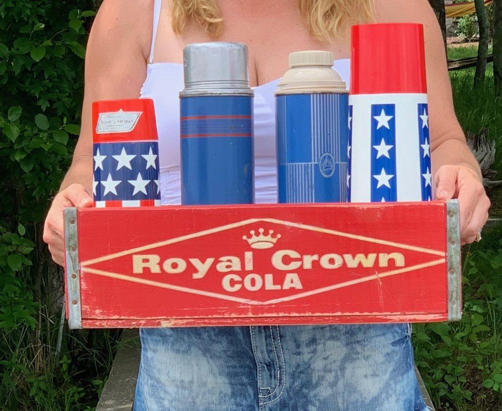 Vintage Patriotic Thermos in Vintage Royal Crown Soda Crate